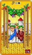Four of Wands Tarot card in 8-Bit Tarot deck