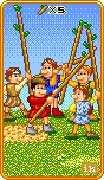 Five of Wands Tarot card in 8-Bit Tarot deck