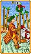 Six of Wands Tarot card in 8-Bit Tarot deck