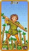 Seven of Wands Tarot card in 8-Bit Tarot deck