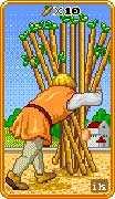 Ten of Wands Tarot card in 8-Bit Tarot deck