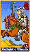Knight of Wands Tarot card in 8-Bit Tarot deck