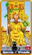 Queen of Wands Tarot card in 8-Bit Tarot deck