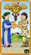 Two of Cups Tarot card in 8-Bit Tarot deck