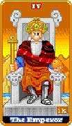 The Emperor Tarot card in 8-Bit Tarot deck