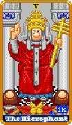 The Hierophant Tarot card in 8-Bit Tarot deck