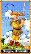 Page of Swords Tarot card in 8-Bit Tarot deck