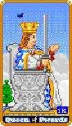 Queen of Swords Tarot card in 8-Bit Tarot deck