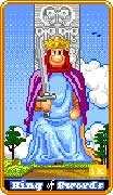 King of Swords Tarot card in 8-Bit Tarot deck