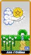 Ace of Coins Tarot card in 8-Bit Tarot deck