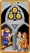 Three of Coins Tarot card in 8-Bit Tarot deck