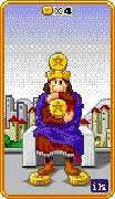 Four of Coins Tarot card in 8-Bit Tarot deck