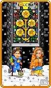 Five of Coins Tarot card in 8-Bit Tarot Tarot deck
