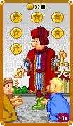 Six of Coins Tarot card in 8-Bit Tarot deck