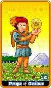 Page of Coins Tarot card in 8-Bit Tarot deck