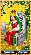 Queen of Coins Tarot card in 8-Bit Tarot deck