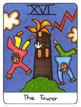 The Falling Tower Tarot Card - African Tarot Deck