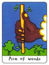Ace of Batons Tarot Card - African Tarot Deck