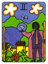 Two of Staves Tarot Card - African Tarot Deck