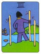 Three of Staves Tarot Card - African Tarot Deck