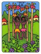 Four of Pipes Tarot Card - African Tarot Deck