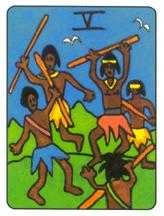 Five of Sceptres Tarot Card - African Tarot Deck