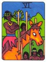Six of Pipes Tarot Card - African Tarot Deck