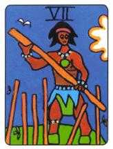 Seven of Staves Tarot Card - African Tarot Deck