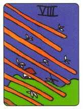 Eight of Staves Tarot Card - African Tarot Deck