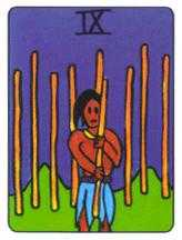 Nine of Staves Tarot Card - African Tarot Deck