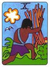 Ten of Staves Tarot Card - African Tarot Deck