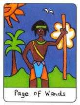 Page of Staves Tarot Card - African Tarot Deck