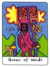 Queen of Rods Tarot Card - African Tarot Deck