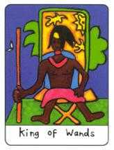 King of Batons Tarot Card - African Tarot Deck