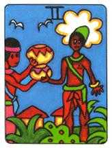 Two of Cauldrons Tarot Card - African Tarot Deck