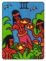 Three of Cauldrons Tarot Card - African Tarot Deck