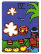 Four of Hearts Tarot Card - African Tarot Deck