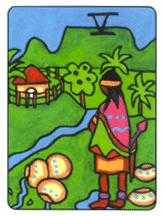 Five of Bowls Tarot Card - African Tarot Deck
