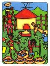 Six of Ghosts Tarot Card - African Tarot Deck