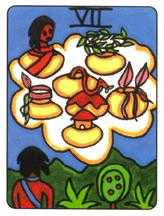 Seven of Cauldrons Tarot Card - African Tarot Deck