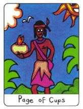 Page of Hearts Tarot Card - African Tarot Deck