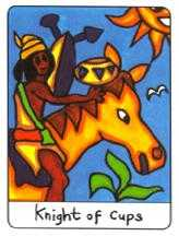 Cavalier of Cups Tarot Card - African Tarot Deck