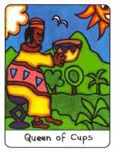 Queen of Bowls Tarot Card - African Tarot Deck