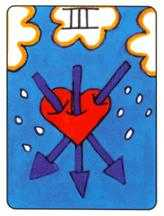 Three of Arrows Tarot Card - African Tarot Deck