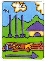 Four of Arrows Tarot Card - African Tarot Deck