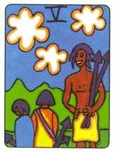 Five of Rainbows Tarot Card - African Tarot Deck