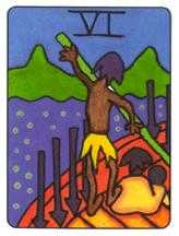 Six of Arrows Tarot Card - African Tarot Deck