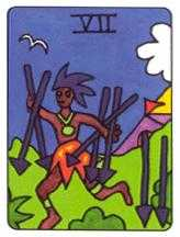 Seven of Swords Tarot Card - African Tarot Deck