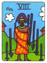 Eight of Swords Tarot Card - African Tarot Deck