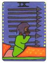Nine of Arrows Tarot Card - African Tarot Deck